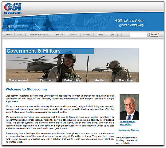 Globecomm's homepage
