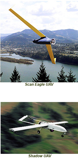 Scan Eagle + Shadow UAVs